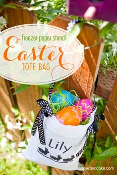 Paper and Cake | tutorial | freezer paper stencil tote bag: Easter Basket | http://www.paperandcake.com