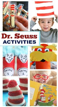 Seuss themed activities and crafts for kids. Dr Seuss Activities, Activities For Kids, Dr Seuss Crafts, Dr Seuss Week, Early Literacy, Fun Crafts For Kids, School Holidays, Kids Learning, Family Meals