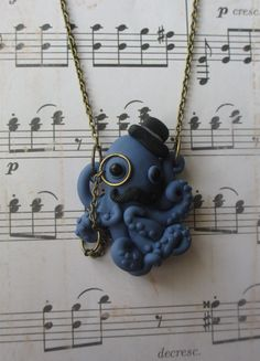 Dapper Octopus necklace  Blue by rudeandreckless on Etsy, $22.00