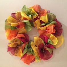 Shop Burlap Deco Mesh Wreath on Wanelo