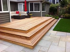Small Deck Ideas - Decorating Porch Design On A Budget Space Saving DIY Backyard Apartment With Stairs Balconies Seating Townhouse Curb Appeal How To Build Privacy With Firepit Furniture Lighting Fi . Patio Pergola, Backyard Patio, Backyard Landscaping, Outdoor Decking, Patio Stairs, Backyard Ideas, Patio Decks, Pergola Kits, Pergola Ideas
