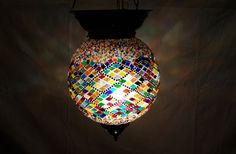 Moroccan mosaic hanging lamp glass chandelier light lampen handmade candle m 047 #Handmade #Moroccan