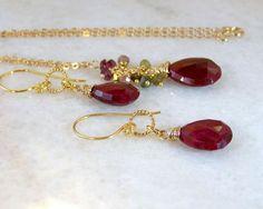 Dark Red Ruby Gemstone Earrings- Bali 24K Gold Vermeil- Artisan Handmade Wrapped Dangle Jewelry Gift