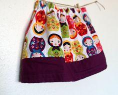 Toddler Skirt, Matryoshka Dolls Skirt, Russian Nesting Dolls Girls Skirt, Infant and Toddler Skirt