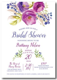 Floral Bridal Shower Invitation Bridal Shower by PoshPaperOccasion
