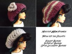 Handknit Slouchy Hats for Monster High Doll by TheYarnOverProject, $10.00