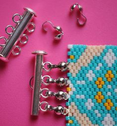 "Another way to attach a multi-strand clasp to peyote bracelet. A ""wire guard"" might be preferable.~ Seed Bead Tutorials"