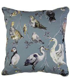 Put a bird on it!  Flights of Fancy Topsy Turvy Cotton Satin Cushion, House of Hackney.