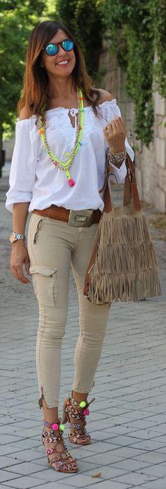 Neon Ethnic Heeled Sandals by Mytenida