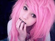 light/fade pink hair. I dont really like bright colours.. to happy lol jokes im not an emo!