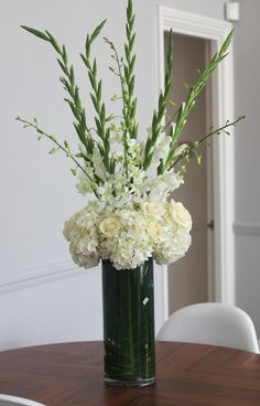 Table Centrepiece - Hydrangea, Orchids, Gladioli, Roses withouth the roses. Love this arrangement Gladiolus Arrangements, Funeral Floral Arrangements, Large Flower Arrangements, Vase Arrangements, Gladiolus Centerpiece, Centerpieces, Gladiolus Wedding Bouquet, Gladiolus Flower, Wedding Flowers