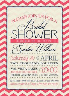 Printable Bridal Shower Invitation DIY Chevron by Wedinfinity