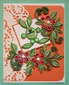 Quilling by Raisa Krapp  quilling-krapp.de  Osternkarte mit dem grünen Osterhasen / Пасхальная открытка