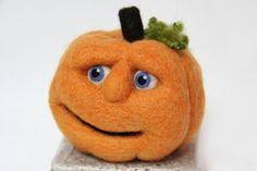 Jack O Lantern Orange Needle Felted Wool by TheFeltedCatpads, $55.00-SOLD