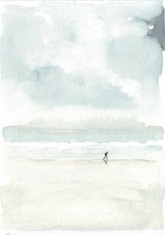 Original watercolor painting beach art man lounge by HelgaMcL http://etsy.me/VPVjFP $20.00
