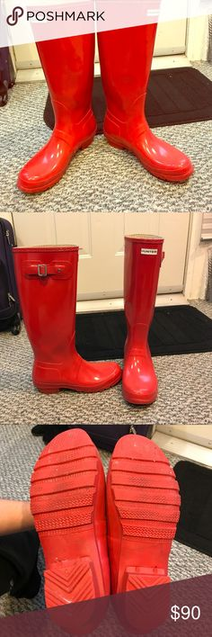 Hunter rain boots size 9 and 2 M/L socks Fire engine red tall hunter boots, size 9 with 2 pairs of authentic Hunter socks. Black pair has faux fur that folds over top of boots, and gray pair runs shorter, so does not cover over the top of the boots. The socks are both size M/L. All as a package deal or can buy separately. Worn a few times, but NO signs of Wear, besides some dirt on sole. Looks like new!! Hunter Boots Shoes Winter & Rain Boots