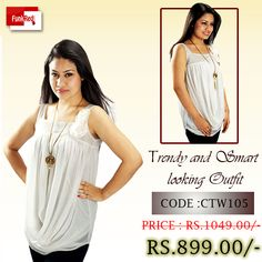 Made of stretchable viscose spandex and stylishly designed with a royal white color it is a tunic you can wear in any occasion.