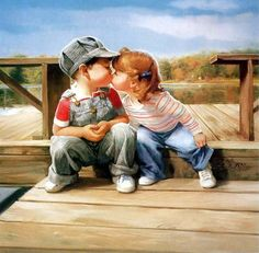 Oil Painting,  Name: First Kiss, Author: Donald Zolan.              This a a picture I took of my children when they were 3 and 4 at Lake Bonanza.