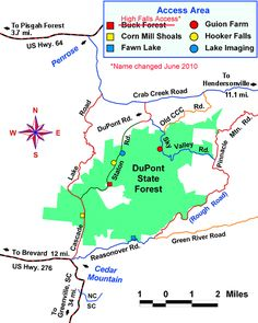 Directions to DuPont State Forest Parking Lots