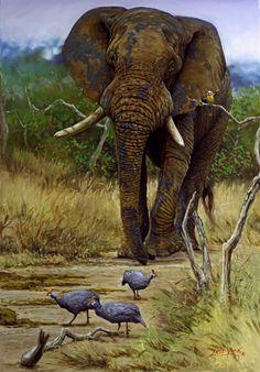 Elephant painting, Wildlife art, African elephant, Oil paintings by Lute Vink, SA