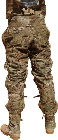 """Tactical Concealment's """"Armadillo"""" MultiCam Mesh (MCM) Leg Chaps (Ghillie Suit Foundation) ... MSRP is $213.20"""