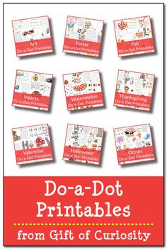 A large collection of FREE do-a-dot printables on over 25 topics including holidays, animals, foods, toys, and more! The do-a-dot printables on this blog will keep kids entertained for HOURS! || Gift of Curiosity