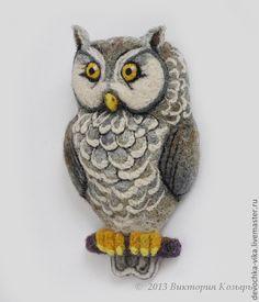 "Brooch ""Owl"". Needle Felting"