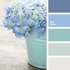 This palette contains of extremely soft hues. Violet-blue and lighter pale blue shades are used for outlines and bright elements