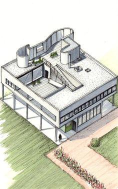 LE CORBUSIER villa savoir drawing