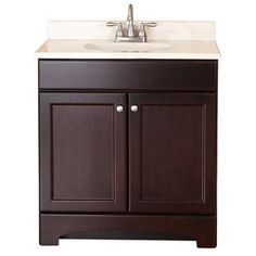 Clementon Cocoa Integral Single Sink Bathroom Vanity with Cultured Marble Top (Common: 30-in x 19-in; Actual: 30.5-in x 18....