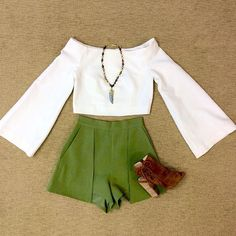 WEBSTA @ effiesinc - Happy Monday from Effie's! Here's a sweet treat to get your week going! This #Lookoftheday is just what you need for a fresh start! Our off the shoulder long sleeve white crop, high waisted celadon shorts, and suede peep toe bootie couldn't get any sweeter! Come see us today!! #happymonday #croptopshop #fallisintheair🍁 #bootielove #shoplocal #stylesquad