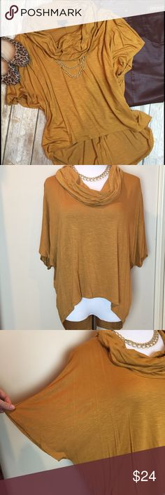 Soft Stretchy Hi-Low Swing Top✨ Golden, Dijon-colored, swingy tunic-style top.🌞 Cozy and sexy! Rayon & spandex - It's a Med, but will fit any size, and hangs beautifully. Looks super cool w skinnies, or a leather skirt!✨ Hi-low hem is perfect to wear with leggings! EUC. Mossimo Supply Co Tops