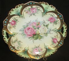 RS Prussia Ornate  Plate Gold Jeweled Cabbage Rose