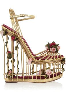 Dolce & Gabbana Rose-embellished metallic leather cage sandals | NET-A-PORTER
