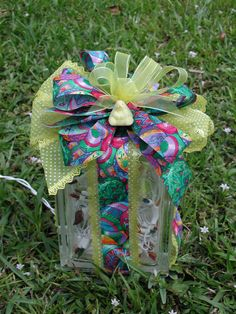 Easter Bow Block, Lighted Glass Blocks, with 50 lights, Rectangle blocks, Interchangeable Bows,Seasonal Decorating,Holiday Block,Night Light