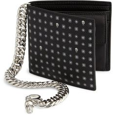 Alexander McQueen Foulard Print Calfskin Leather Bi-Fold Wallet ($525) ❤ liked on Polyvore featuring men's fashion, men's bags, men's wallets, apparel & accessories, black white and mens chain wallet