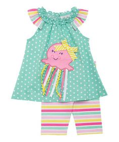 Look at this #zulilyfind! Mint Octopus Yoke Top & Pink Stripe Shorts - Infant & Toddler by Rare Editions #zulilyfinds