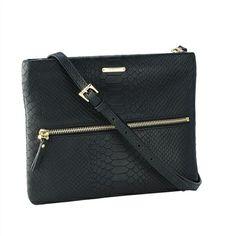 Black Cross-Body Bag   Embossed Python Leather   GiGi New York