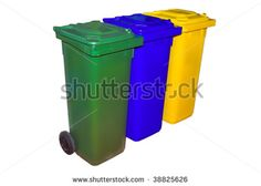 Trash Containers for Garbage Separation, three colors for plastic, metal and burnables