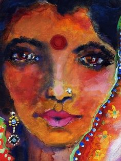 Indian Woman with Red Bindi  http://ginettecallaway.imagekind.com/store/imagedetail.aspx/682ce1b3-ed20-4879-be47-cf253cb6d8a6/Indian_Woman_with_Red_Bindi