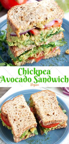 Chickpea Avocado Sandwich This vegan chickpea and avocado sandwich is packed with protein and full of cilantro celery basil green onion lime and more! The perfect lunch recipe! The post Chickpea Avocado Sandwich appeared first on Vegan. Vegan Lunches, Vegan Foods, Easy Vegan Lunch, Yummy Vegan Food, Easy Vegan Dishes, Tasty, Vegan Food List, Lunch Foods, Quick Easy Vegan
