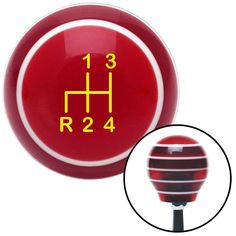Yellow Shift Pattern 4n Red Stripe Shift Knob with M16 x 15 Insert