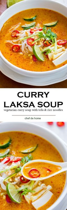 Starting Monday with a flavorful meatless vegetarian coconut curry soup made with Malaysian-style red curry paste called Laksa. Just like any other glorious bowl of Curry Soup, I like to eat Laksa. Vegetarian Laksa, Coconut Curry Vegetarian, Tasty Vegetarian, Coconut Curry Soup, Vegetable Curry Soup, Vegetarian Asian Recipes, Vegetarian Noodle Soup, Thai Noodle Soups, Vegetable Rice