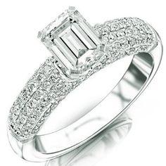 Carat Emerald Cut White Gold Five Row Modern Pave Diamond Engagement Ring