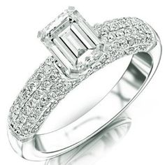 Carat Emerald Cut White Gold Five Row Modern Pave Diamond Engagement Ring