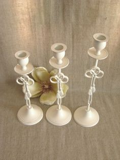 Summer Sale Shabby Cottage Candlestick Holders / Candle Holders in Heirloom White for Wedding or Home Decor