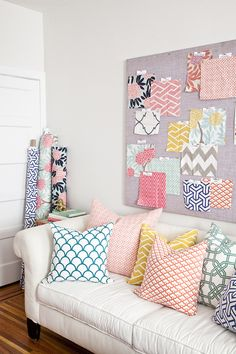 Fabrics by Caitlin Wilson Design featured in Matchbook Magazine July 2012 Would love to do pillows in Lola's Room with fabrics like this! Decor, Interior, Decor Inspiration, Home Decor, Home Deco, Pillows, Inspiration, Interior Design, Home And Living