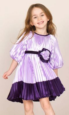 Halabaloo Girls Toddlers Tweens Lilac Purple Satin Pleated Color Block Dress