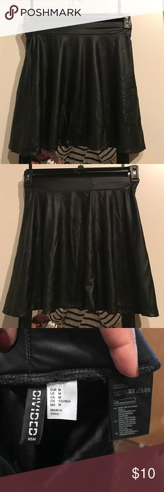 Black pleather circle skirt from h&m Maybe worn twice... open to reasonable offers, but the price is already pretty low for newness and quality. But ya never know, I like having sales 😀 H&M Skirts Circle & Skater