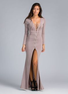 To Tie For Lace-Up Front Slit Maxi CAPPUCCINO - GoJane.com